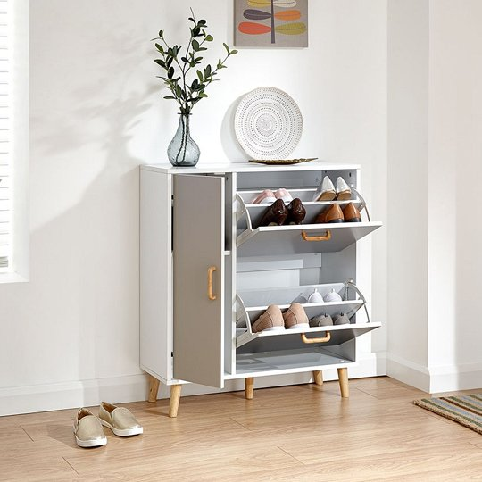 Kallie Wooden Shoe Cabinet In White With 1 Door And 2 Drawers_2