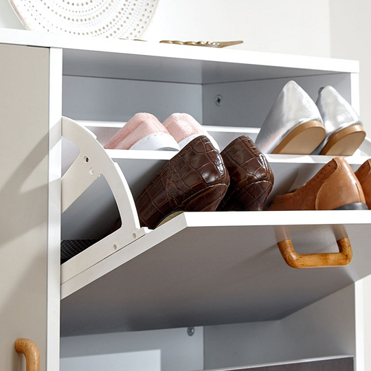 Kallie Wooden Shoe Cabinet In White With 1 Door And 2 Drawers_6