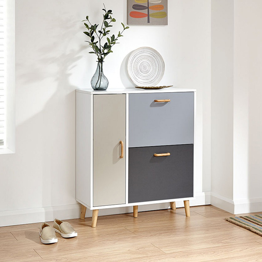 Kallie Wooden Shoe Cabinet In White With 1 Door And 2 Drawers