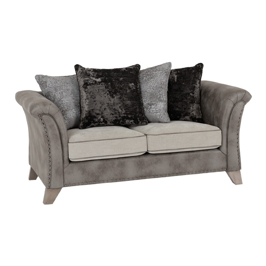 Kangus Fabric Upholstered 2 Seater Sofa In Silver And Grey