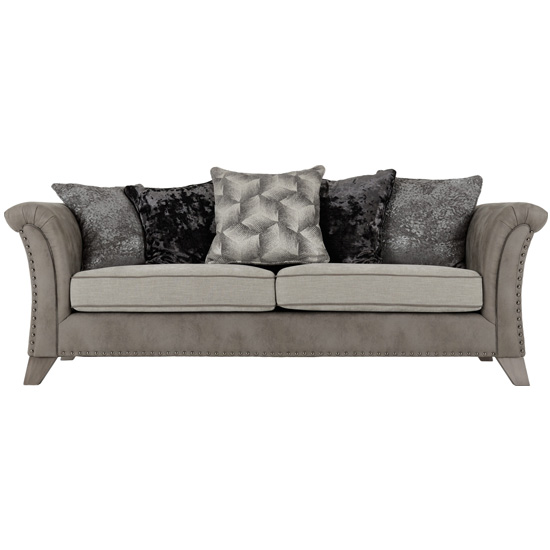 Kangus Fabric Upholstered 3 Seater Sofa In Silver And Grey_2