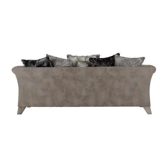 Kangus Fabric Upholstered 3 Seater Sofa In Silver And Grey_3