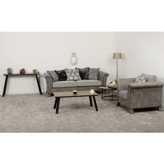 Kangus Fabric Upholstered 3 Seater Sofa In Silver And Grey_5