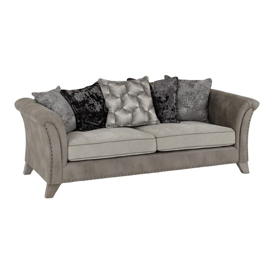 Kangus Fabric Upholstered 3 Seater Sofa In Silver And Grey