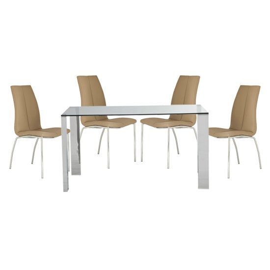 Kansas Clear Glass Dining Table With 4 Stone Leather Chairs