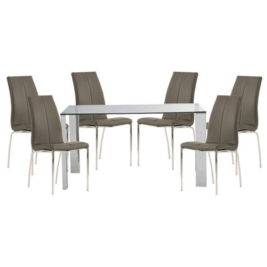 Kansas Clear Glass Dining Table With 6 Grey Leather Chairs