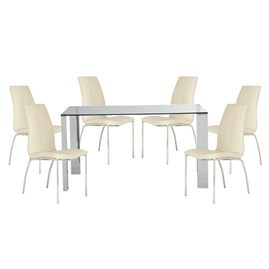 Kansas Clear Glass Dining Table With 6 White Leather Chairs