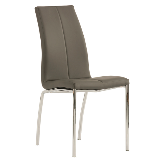 Kansas Faux Leather Dining Chair In Grey