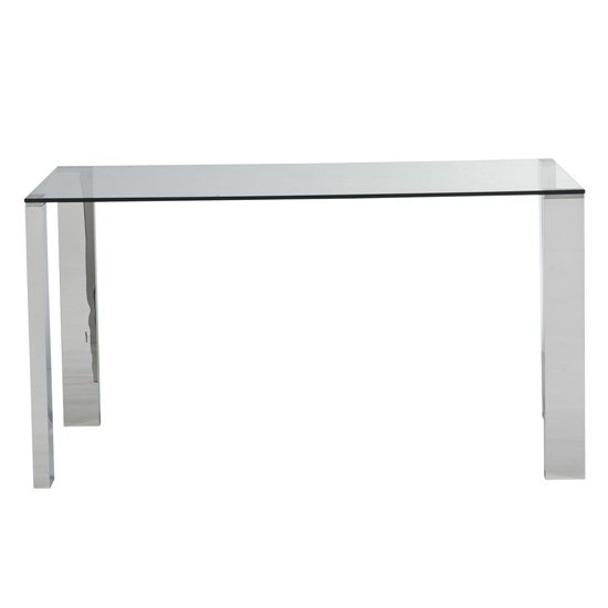View Kansas rectangular glass dining table with chrome legs