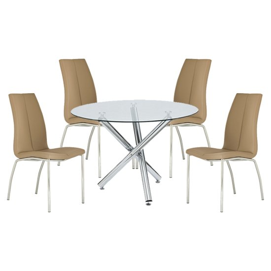 Kansas Round Glass Dining Table With 4 Stone Leather Chairs