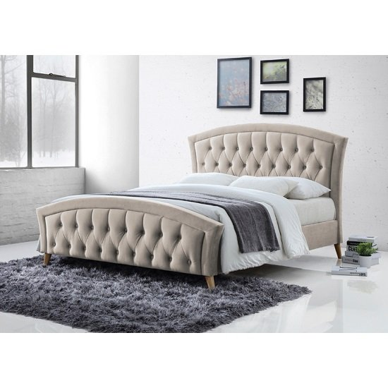 Kansas Fabric Bed In Champagne With Curved Wooden Legs