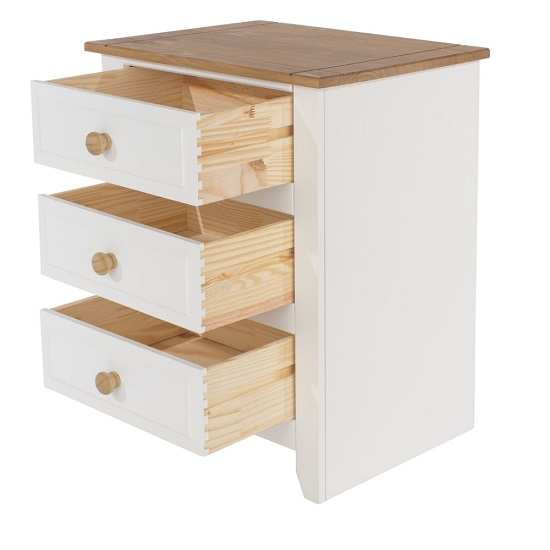 Kapri Three Drawer Bedside Cabinet In White And Antique Wax_2