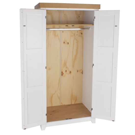 Kapri Two Door Wardrobe In White And Antique Wax_2