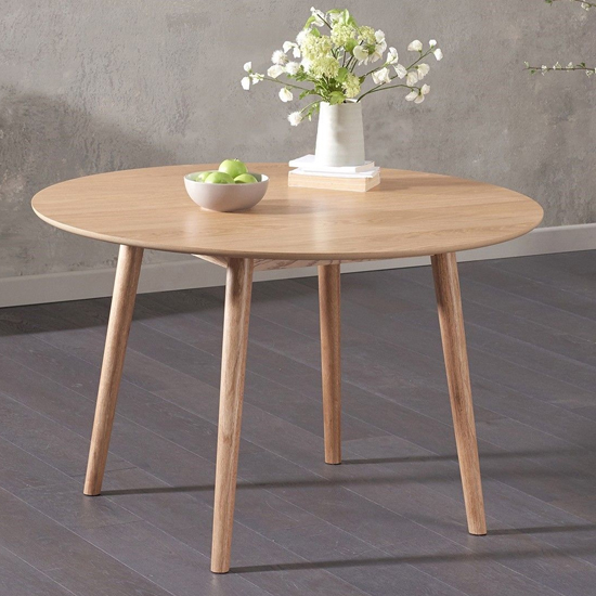 Karaka Round Wooden Dining Table In Oak