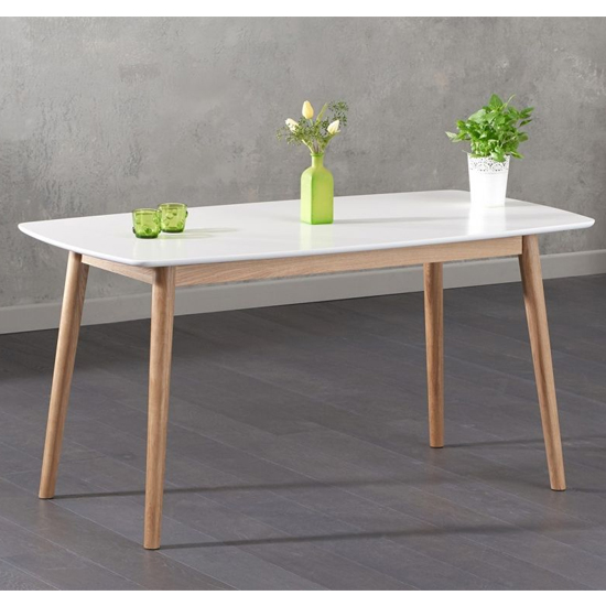 Karaka Wooden Dining Table In Oak And White