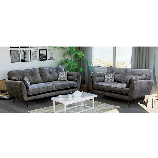 Karen Contemporary Fabric Sofa Set In Grey With Wooden Feet
