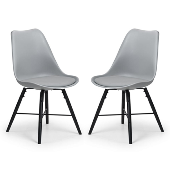 Kari Dining Chair In Pair With Grey Seat And Black Legs