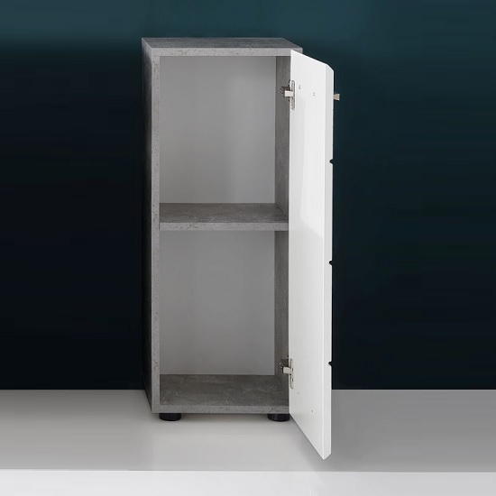 Karla Bathroom Storage Cabinet In Stone Grey White High Gloss_2