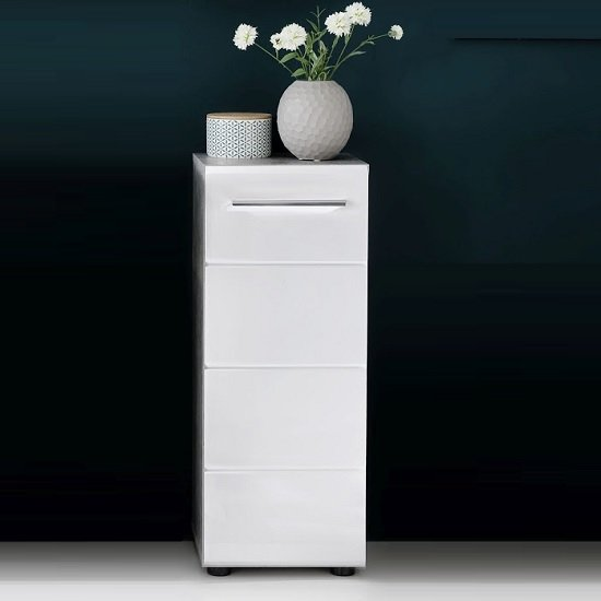 Karla Bathroom Storage Cabinet In Stone Grey White High Gloss_1