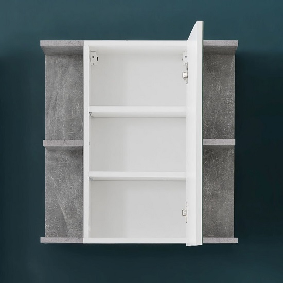 Karla Mirrored Wall Cabinet In Stone Grey And White High Gloss_2