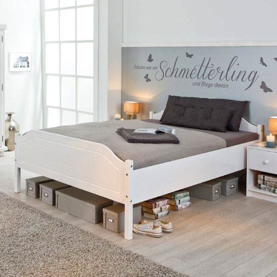 Karlo Wooden Double Bed In White