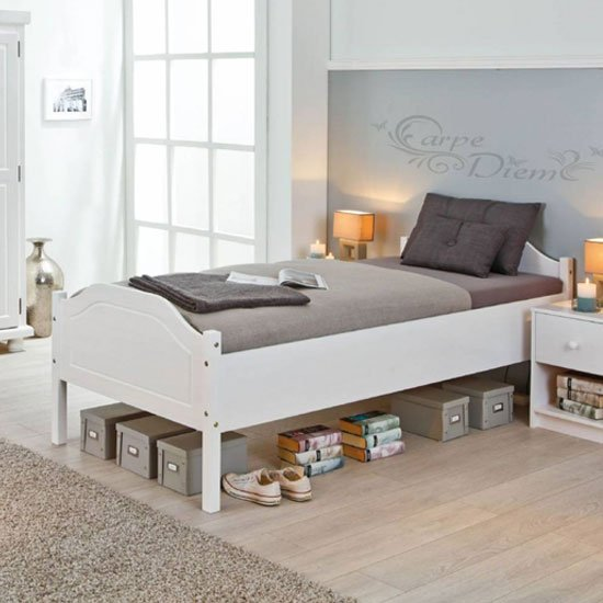 Karlo Wooden Single Bed In White