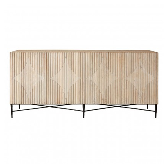 Karot Wooden 4 Doors Sideboard In Light Grey