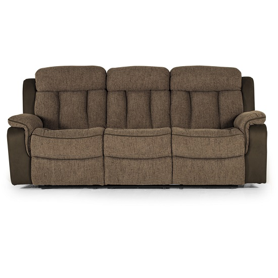 Karr Three Seater Recliner Fabric Sofa In Brown