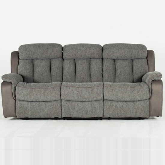Karr Three Seater Recliner Fabric Sofa In Grey