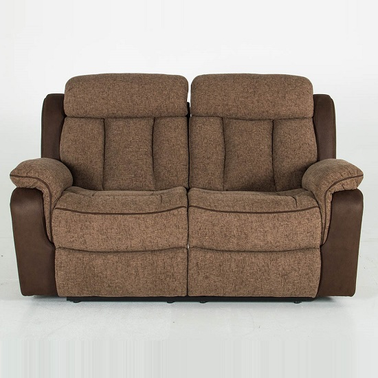 Karr Two Seater Recliner Fabric Sofa In Brown