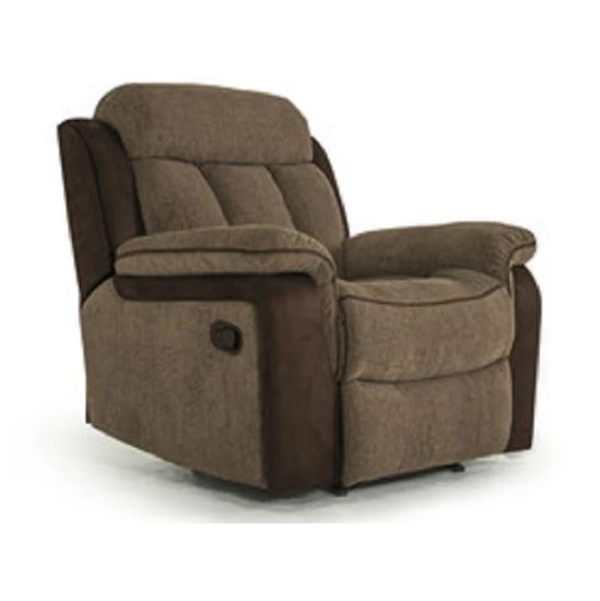 Karr Two Tone Recliner Fabric Armchair In Brown