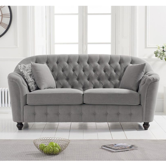 Karrio Linen Fabric 2 Seater Sofa In Grey_1