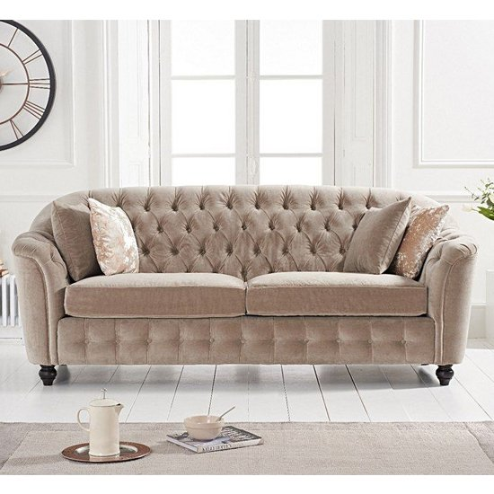 Karrio Velvet Upholstered 3 Seater Sofa In Mink