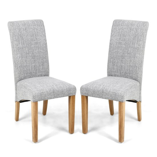 Karta Scroll Back Flax Effect Grey Weave Dining Chairs In Pair
