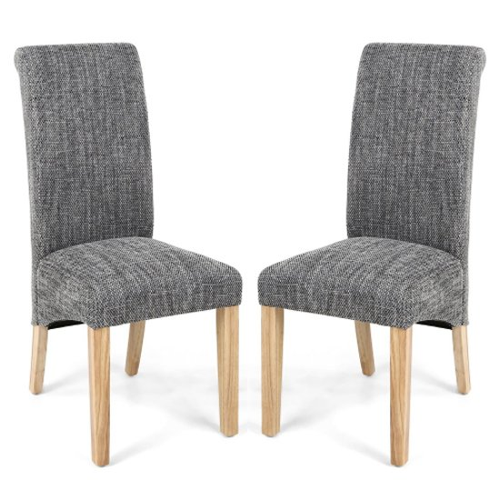 Karta Scroll Back Tweed Grey Dining Chairs In Pair