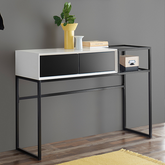 Kasan Wooden Console Table In Black And White