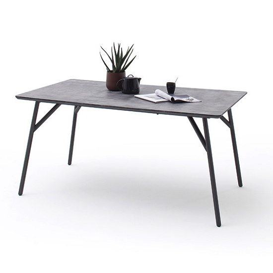 Kassel Dining Table Rectangular In Concrete Look Grey