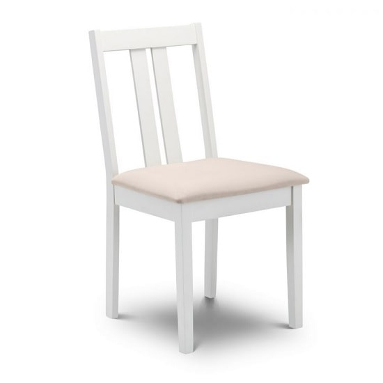 Kassia Wooden Dining Chair In Ivory Faux Suede Seat