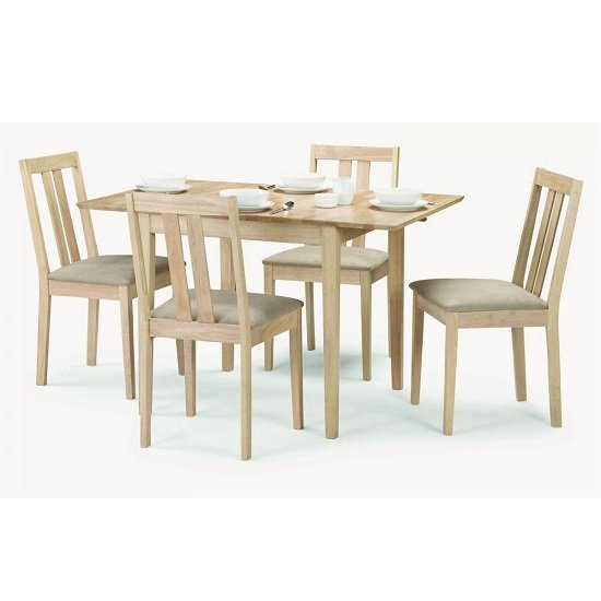 Kassia Wooden Dining Table In Natural With Four Dining Chairs_1