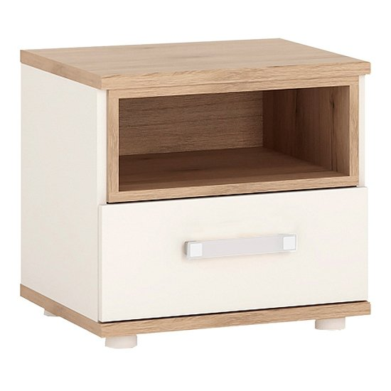 Kast Wooden Bedside Cabinet In White High Gloss And Oak