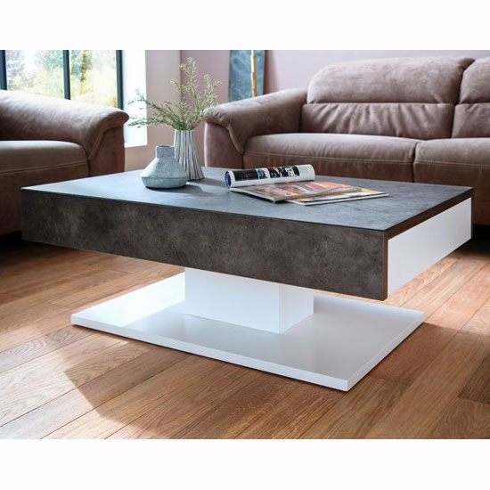 Image of Kathryn Wooden Storage Coffee Table In Concrete And Matt White