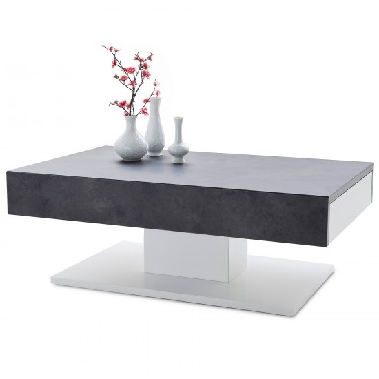 Kathryn Wooden Storage Coffee Table In Concrete And Matt White_3