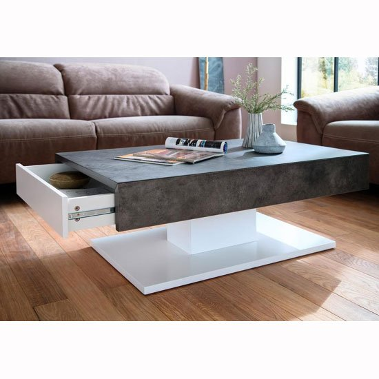 Kathryn Wooden Storage Coffee Table In Concrete And Matt White_2
