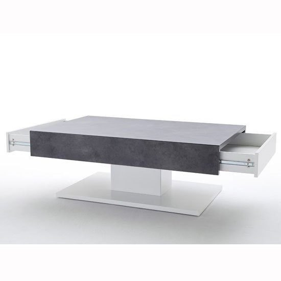 Kathryn Wooden Storage Coffee Table In Concrete And Matt White_4