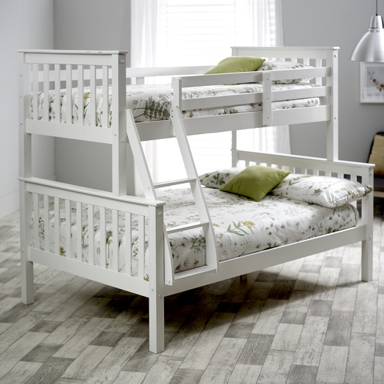 Katie Wooden Triple Sleeper Bunk Bed In White Pine
