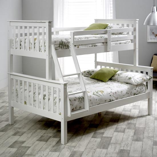 Katie Wooden Triple Sleeper Bunk Bed In White Pine