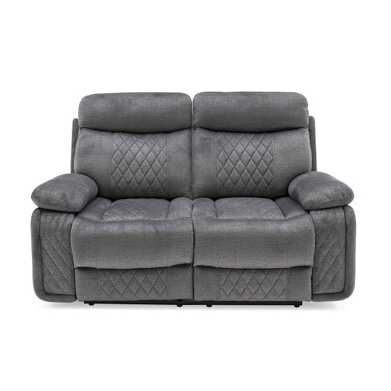 Katniss Recliner 2 Seater Sofa In Grey Fabric
