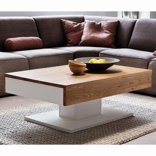 Matteo Wooden Storage Coffee Table In Oak And Matt White