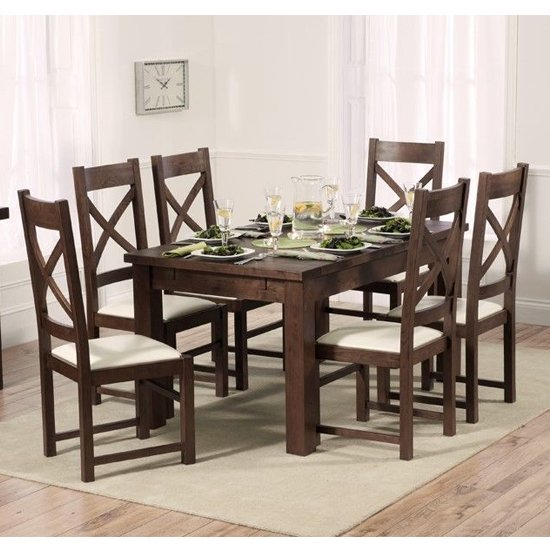 View Kaveh dark oak extending dining table with 6 cream chairs
