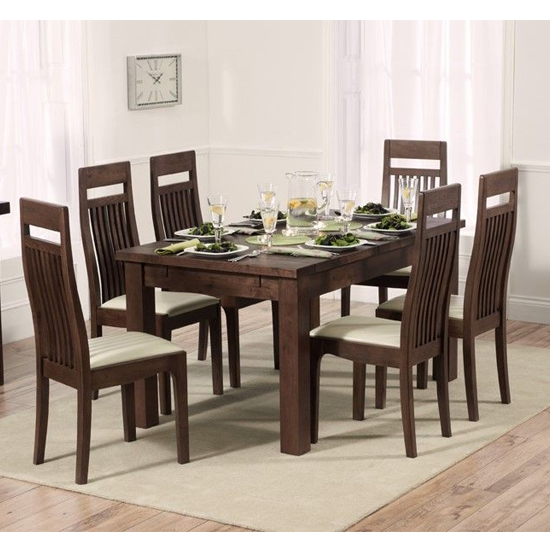 View Kaveh extending dark oak dining table with 8 cream chairs